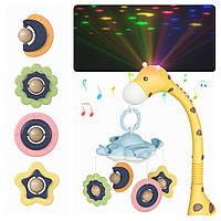 Мобиль на кроватку карусель Tumama Жираф желтый с проекцией, музыкой и пультом ДУ - Premium