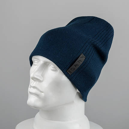Молодежная шапка Домик (20104) Синий, фото 2
