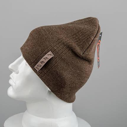 Молодежная шапка Домик (20104) Коричневый, фото 2