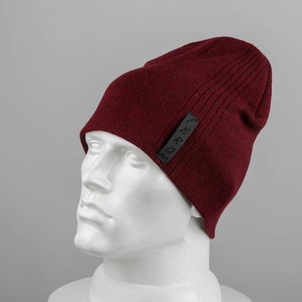 Молодежная шапка Домик (20104) Бордовый, фото 2