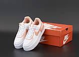 Кроссовки женские Nike Air Force 1 в стиле Найк Форсы Белые/Оранжевые (Реплика ААА+), фото 6