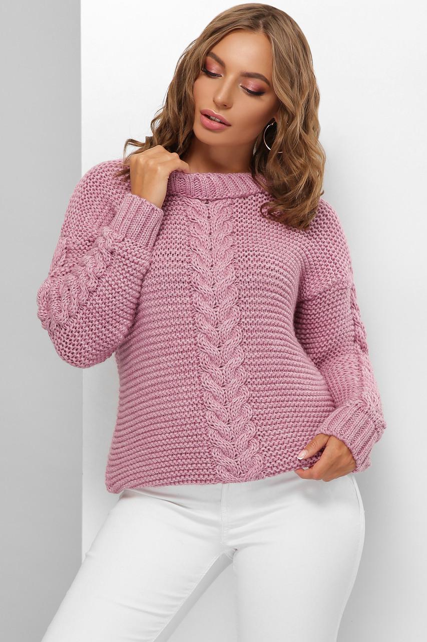 Модний жіночий светр велика в'язка Бузковий розмір 44-50