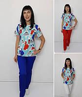 Женский медицинский костюм Флора-принт Модница короткий рукав, фото 1