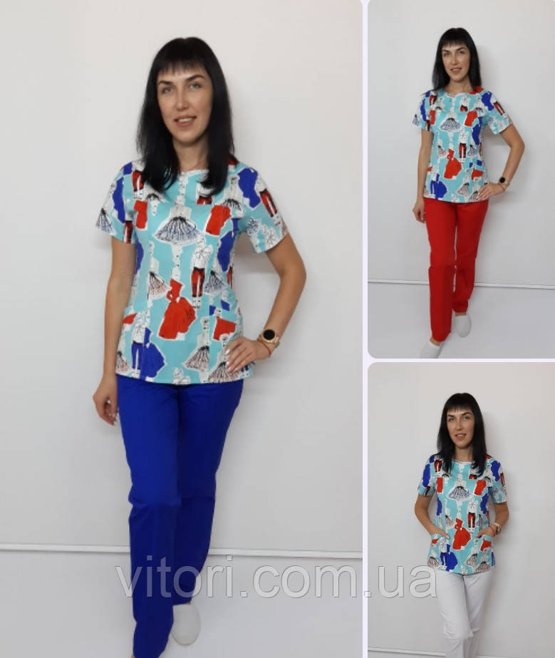 Женский медицинский костюм Флора-принт Модница короткий рукав