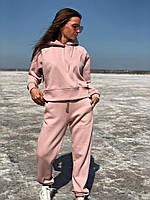 Теплый женский спортивный костюм оверсайз на флисе свитшот с брюками Пудра, фото 1