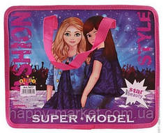 Папка-портфель на блискавці з тканими ручками для дівчинки Super model 7477 рожевий