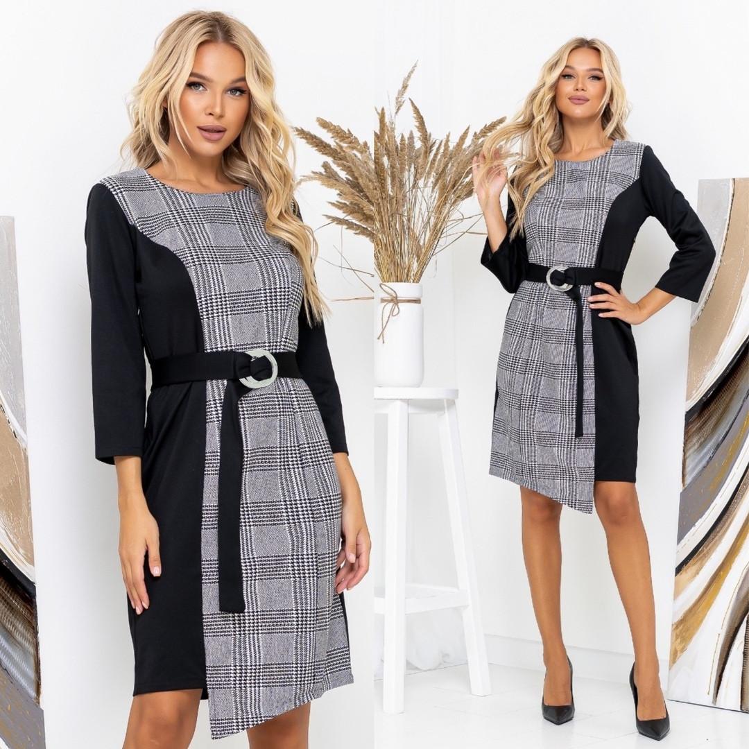 Трикотажное платье с контрастной вставкой 35-287