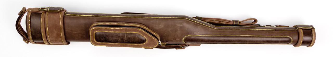 Тубус для бильярдного кия с карманом и ремнем Сильвер коричневого цвета из натуральной кожы