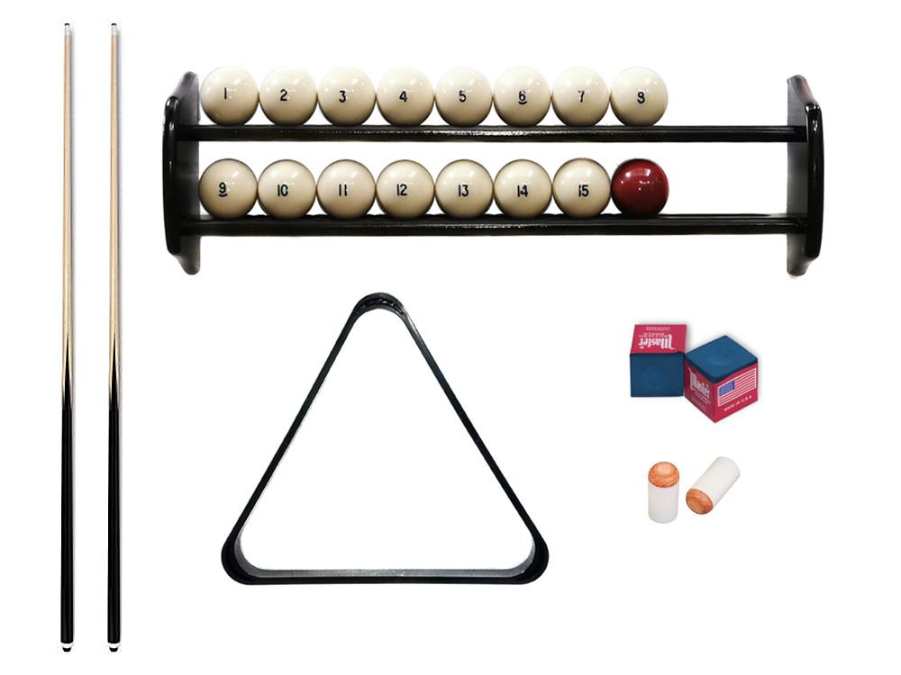 Комплект для игры в русскую пирамиду 6,7,8 футов Стандарт с полкой, шарами и треугольником