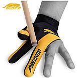 Перчатка для игры в бильярд Predator в черно - желтом цвете из лайкры, фото 2