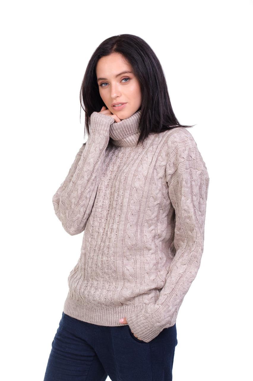 Теплий в'язаний светр гольф під горло Бежевий 44,46,48 розміри