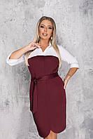 Женское двухцветное платье большого размера.Размеры:50/52,62/64.  4 цвета, фото 1