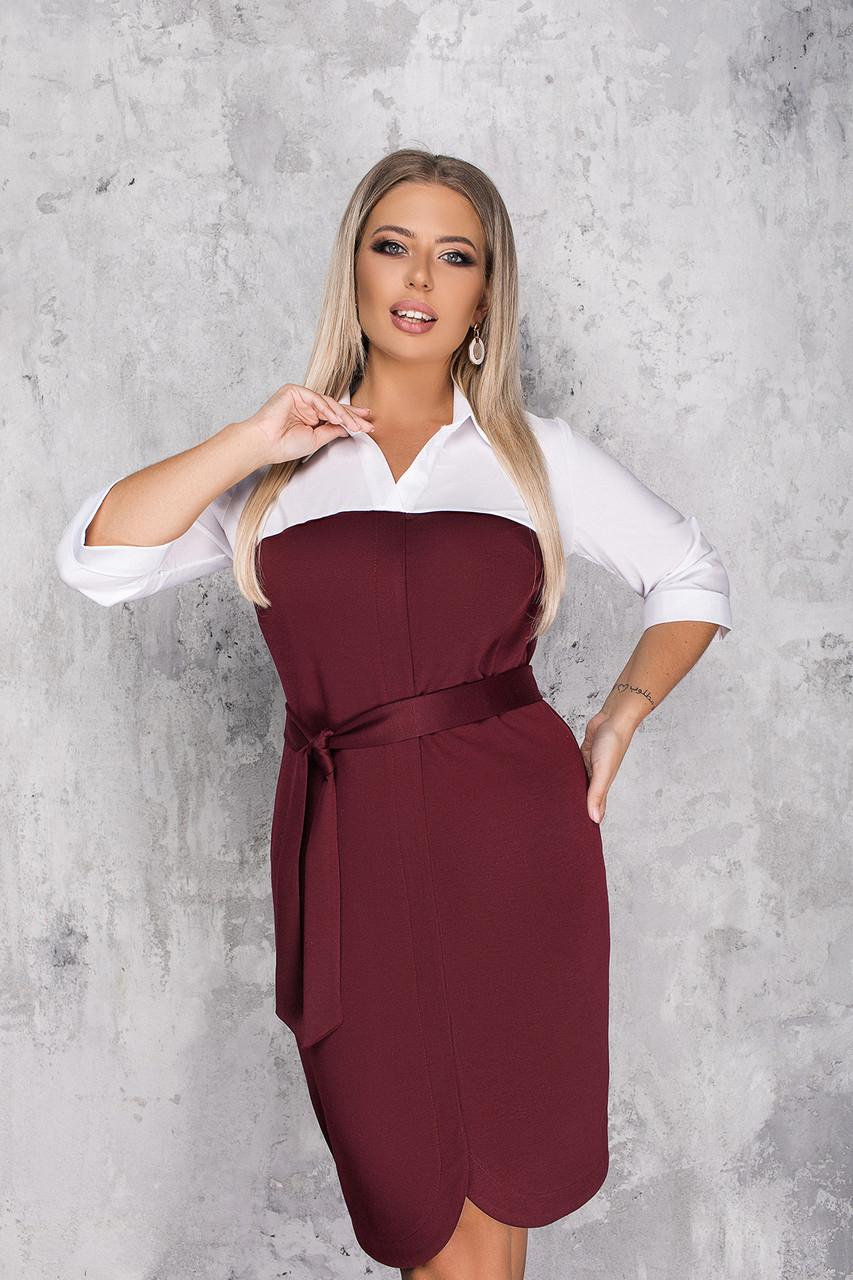 Женское двухцветное платье большого размера.Размеры:50/52,62/64.  4 цвета