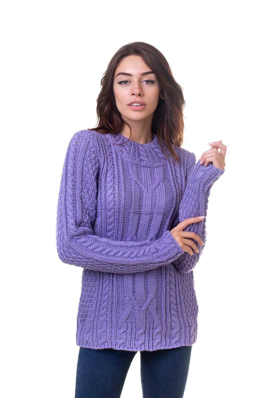 Теплый вязаный удлиненный свитер Желтый 44,46,48 размеры