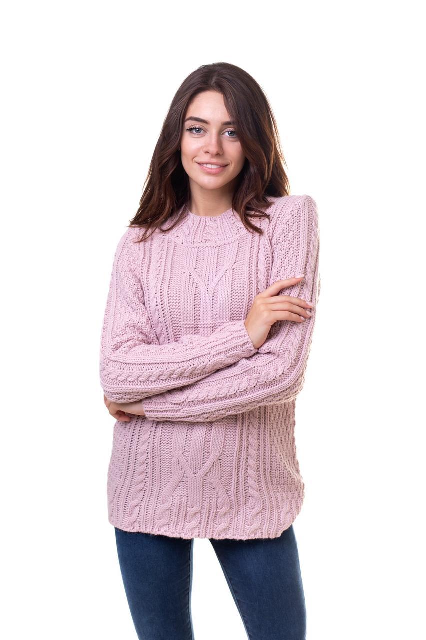 Теплий в'язаний подовжений светр Жовтий 44,46,48 розміри