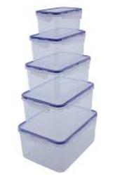 Набор контейнеров прямоугольных с зажимами, 5шт, для пищевых продуктов