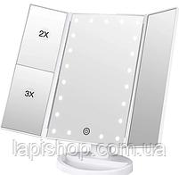 Тройное зеркало со станями  с led-подсветкой Белое, фото 3