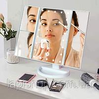 Тройное зеркало со станями  с led-подсветкой Белое, фото 5
