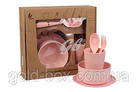 Набор эко посуды розовый