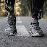 🔥 Кроссовки женские повседневные для спорта зала тренировок Adidas Ozweego адидас озвиго серые кожаные, фото 7