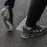 🔥 Кроссовки женские повседневные для спорта зала тренировок Adidas Ozweego адидас озвиго серые кожаные, фото 8