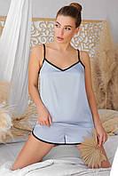 Женская пижамная майка Шелби серо-голубого цвета с кантом, фото 1
