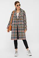 Разноцветное демисезонное женское пальто из шерсти П-399-100, фото 1