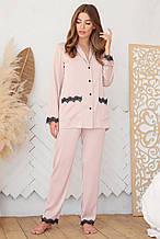 Женская  пижамная рубашка пудрового цвета  на длинный рукав Долорес
