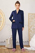 Женская  пижамная синяя рубашка  на длинный рукав Долорес