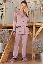 Женская  пижамная рубашка лилового цвета  на длинный рукав Долорес
