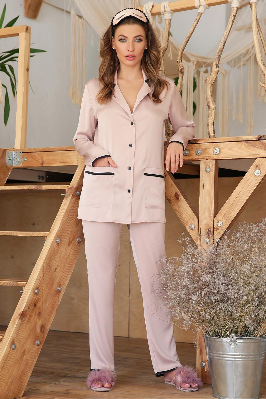 Женская  пижамная рубашка пудрового цвета на длинный рукав Зоряна