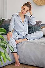 Женская  пижамная рубашка серо-голубого цвета на длинный рукав Зоряна