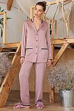 Женская  пижамная рубашка лилового цвета на длинный рукав  Зоряна