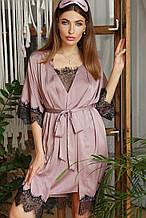 Лиловый женский халат с кружевом Илина из шелка армани до колен