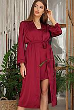 Бордовый женский халат Ирина из шелка армани длинный