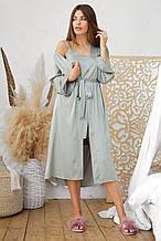 Оливковый женский халат Ирина из шелка армани длинный