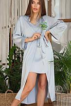 Серо-голубой женский халат Ирина из шелка армани длинный
