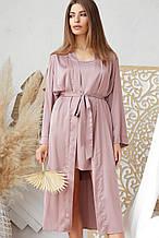 Лиловый женский халат Ирина из шелка армани длинный