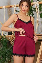 Женские  пижамные шорты Шайлин бордового цвета с кружевом