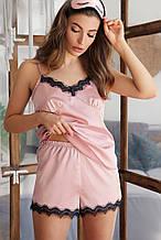 Женские  пижамные шорты Шайлин розового цвета с кружевом