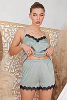 Женские  пижамные шорты Шайлин оливкового цвета с кружевом, фото 1