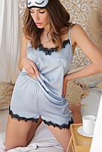 Женские  пижамные шорты Шайлин серо-голубого цвета с кружевом