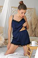 Женские  пижамные шорты Шайлин синего цвета с кружевом, фото 1