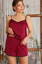 Бордовые женские пижамные шорты Шелби