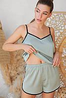 Оливковые женские пижамные шорты Шелби с кантом, фото 1