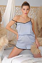 Серо-голубые женские пижамные шорты Шелби