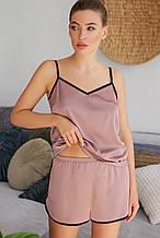 Женские пижамные шорты цвета капучино Шелби с кантом