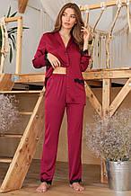 Бордовые  женские пижамные штаны Долорес