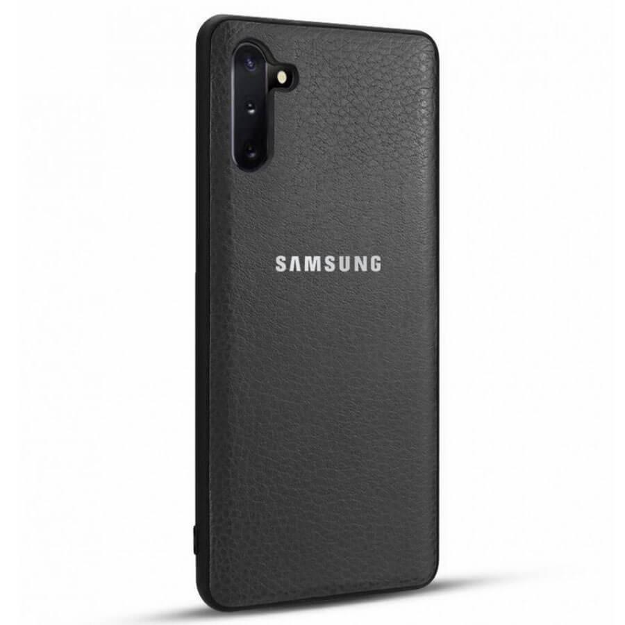 Купить Техника и электроника, Кожаная накладка Classic series для Samsung Galaxy Note 10 Черный, Красный с черной полосой, Epik