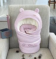 """Зимний вязаный конверт одеяло """"мишка"""" (розовый) Kid's Fantasy"""